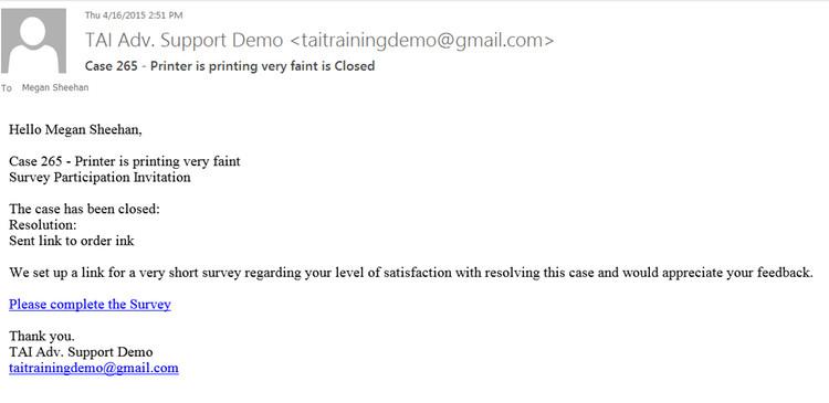 Case Survey Email
