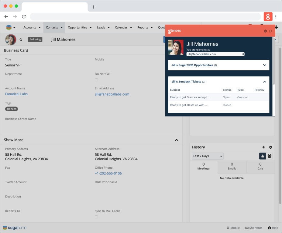Glances within SuiteCRM viewing other systems such as Zendesk