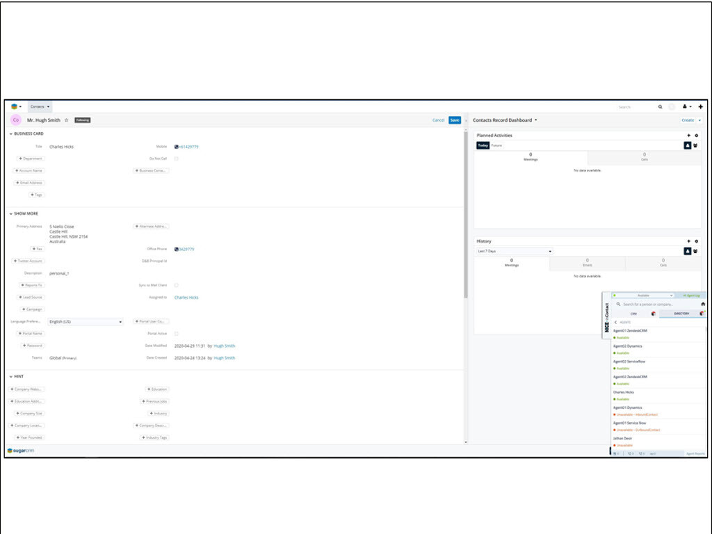 CXone Agent for SugarCRM: Consolidated Desktop
