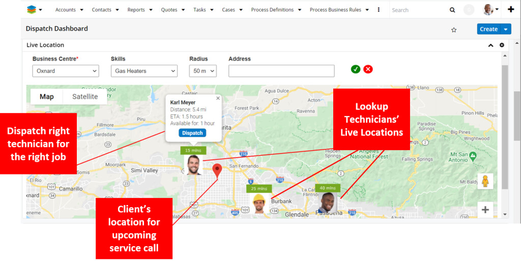 Accommodating break-fix/unscheduled tasks using live location of technicians of a Service Centre