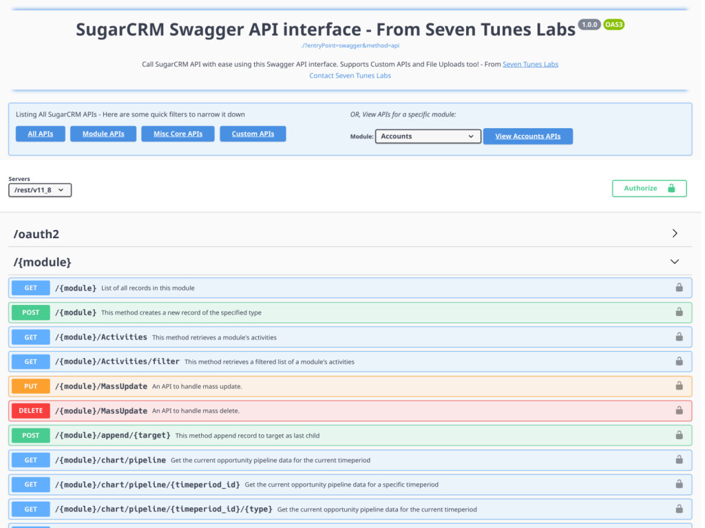 Fully Featured API Interface with Auth