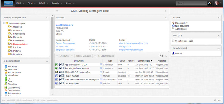 OpenIMS DMS User Interface with Sugar Account info