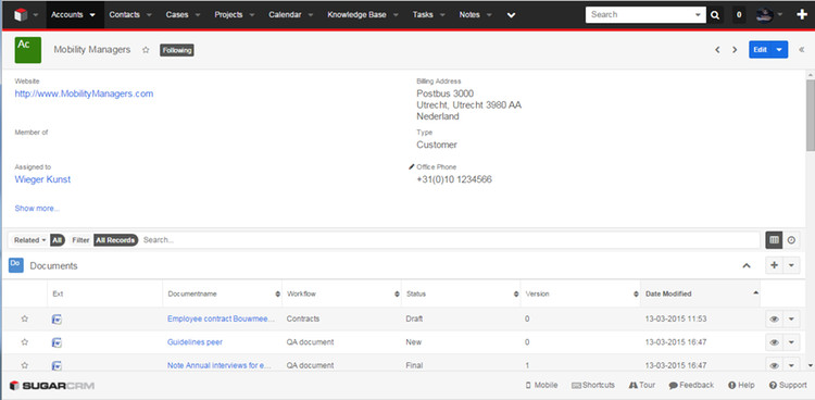 OpenIMS DMS panel in Accounts module