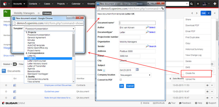 Document creation (template based) with automated incontext data copy