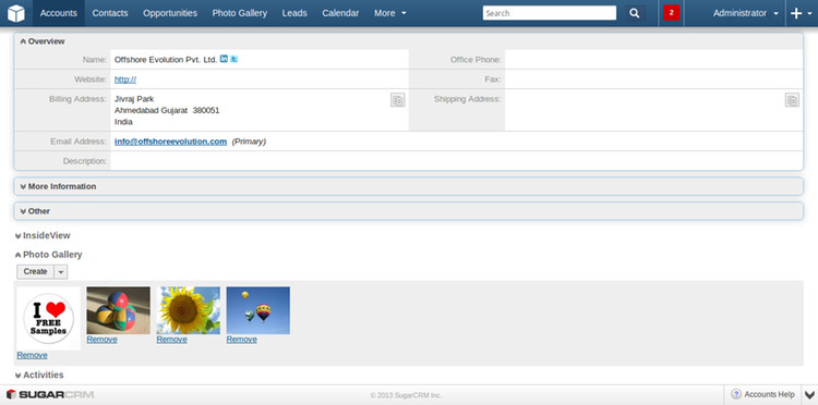 Photo Gallery Subpanel at Accounts Detail View