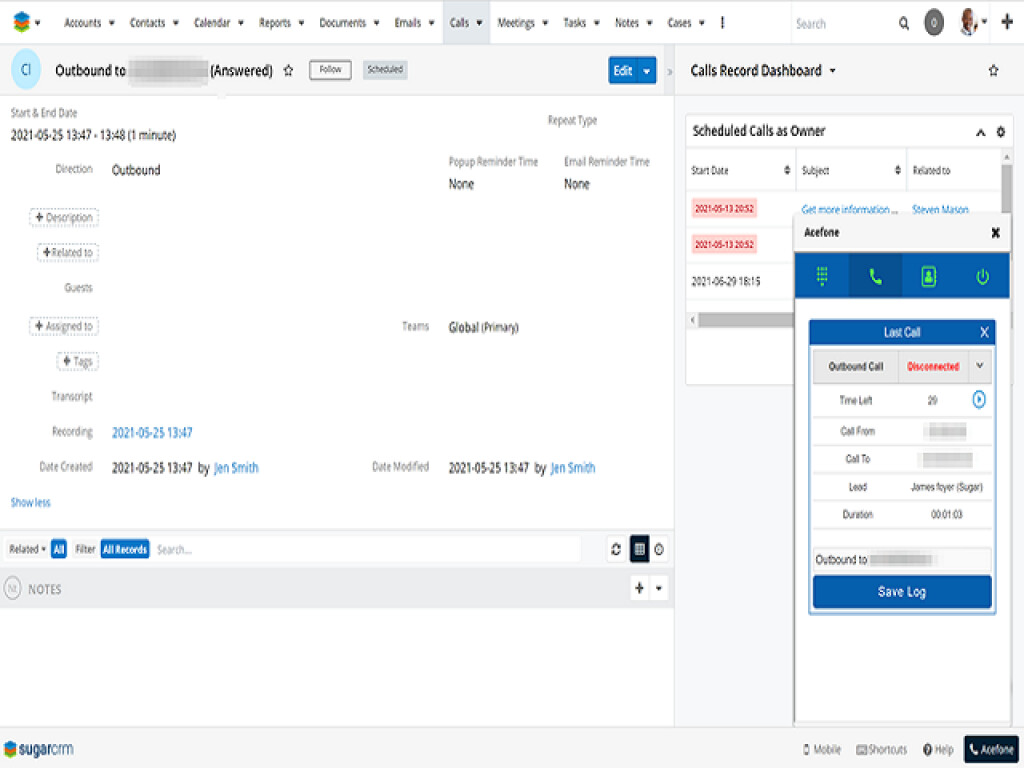 Track agent performance using outbound call logs