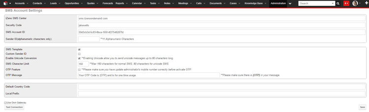 SMS Account settings