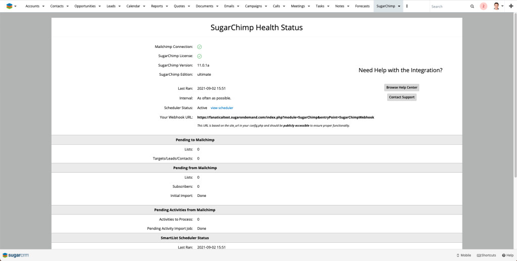 The Health Status page keeps you up-to-date on sync progress