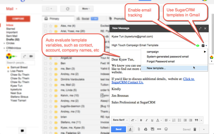 Using SugarCRM template in Gmail compose panel