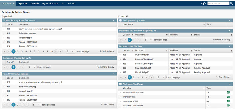 Dashboard of all documents in Docassist