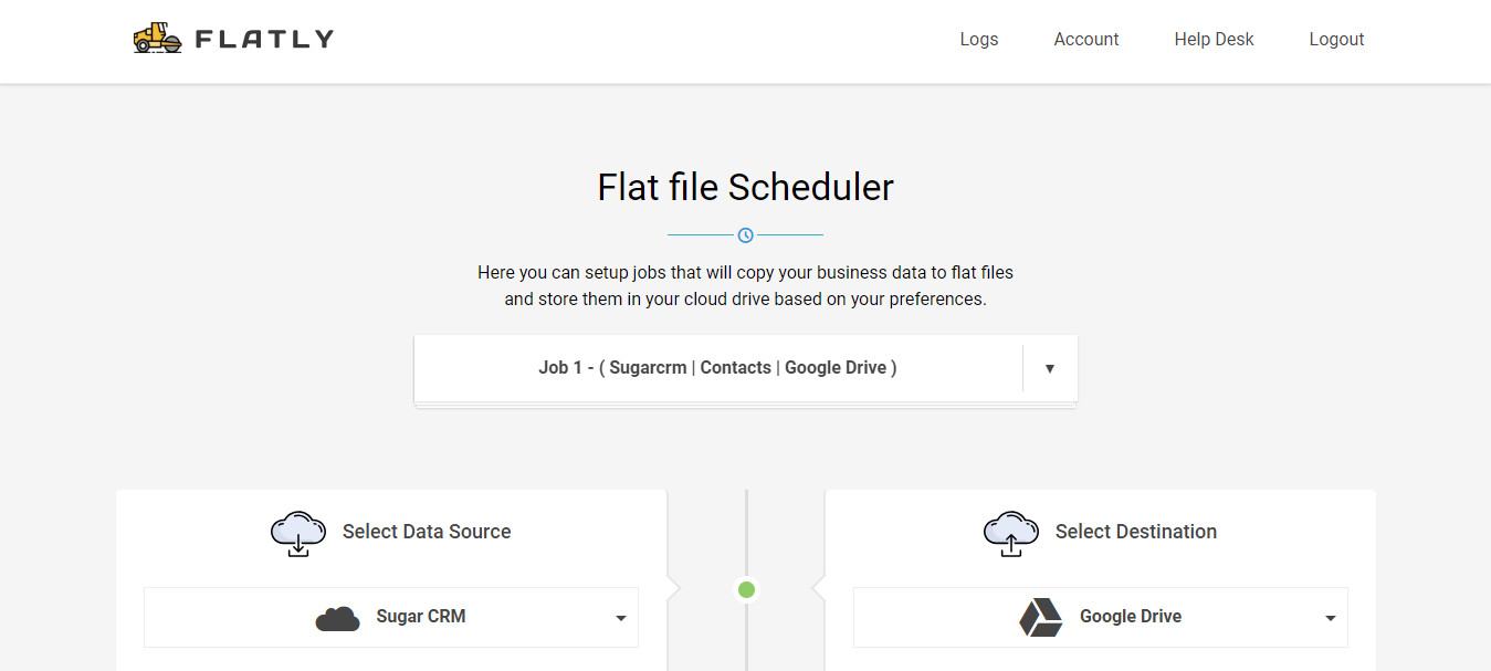 Simple setup of a SugarCRM to Cloud Drive job at Flatly