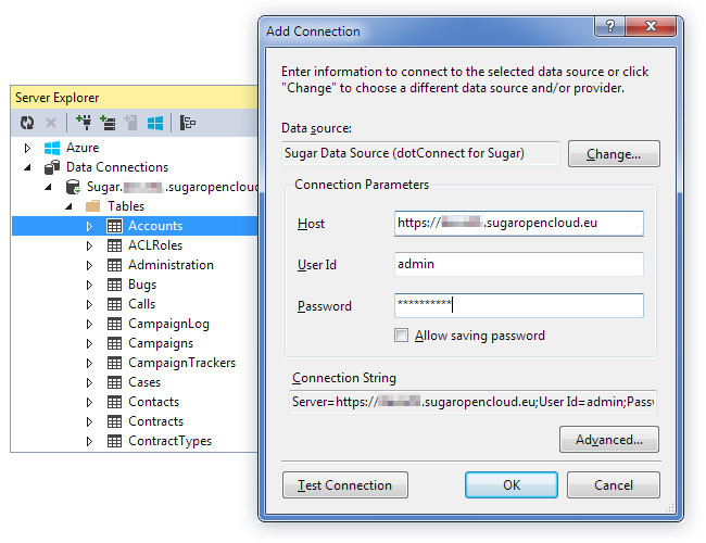 Connecting to SugarCRM from Server Explorer