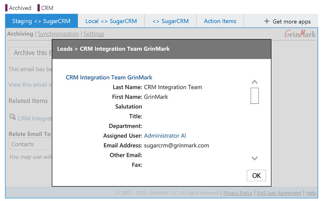CRM Item Details
