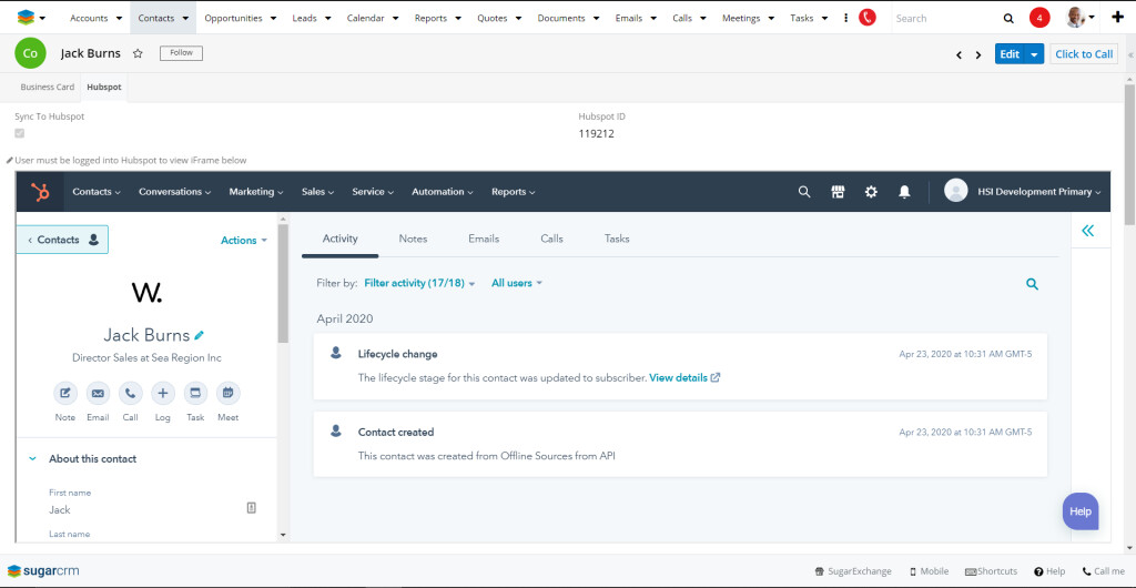 See valuable information from HubSpot right inside the iFrame in SugarCRM.