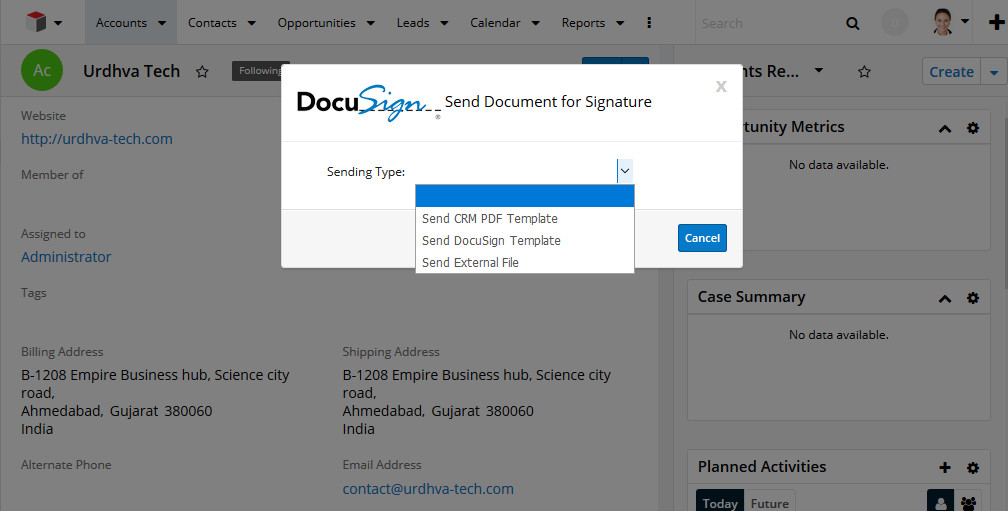 Options for sending documents to Account for signature